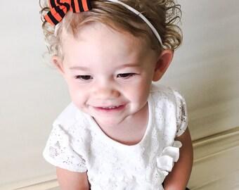 Halloween Bow - Black Orange Striped Halloween Tied School Girl Bow Headband Pigtail Clips -Halloween Baby Headband Black Orange Striped Bow