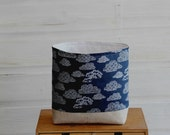 Fabric Storage Basket Clouds in Navy