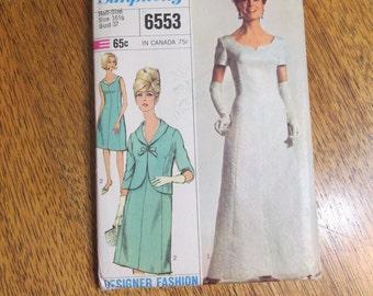 1960s MOD Princess Seamed Evening Dress & Matching Jacket - DESIGNER Fashion - Half Size 16.5 - VINTAGE Uncut Sewing Pattern Simplicity 6553