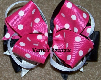 Minnie Mouse Hair Bow or Headband / Boutique Bow / Disney / Pink & Black / Infant / Baby / Girl / Toddler / Custom Boutique Clothing