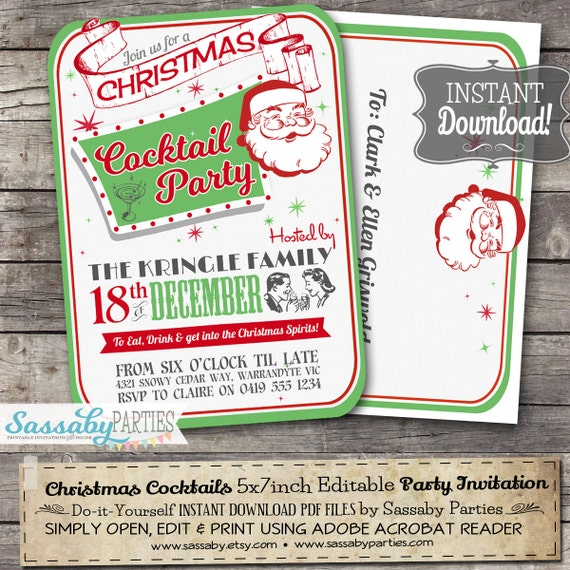 Retro christmas cocktail party invitation instant download il570xn solutioingenieria Image collections