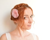 Pink peony flower barrette - romantic organza hair clip