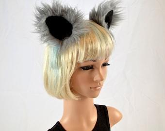 Gray Wolf Ears Clip On in Faux Fur
