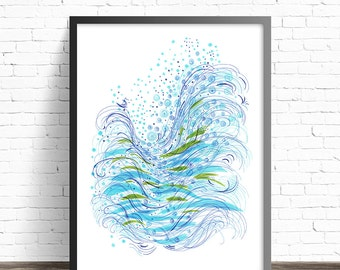 Abstract Wall Art. Abstract Seascape painting Print. Abstract poster Living room wall art. Green and blue modern abstract art print