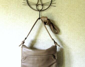 Crossbody Bag leather satchel flap bag long strap purse slouchy shoulder bag light brown tan taupe leather boho hipster bag vintage 80s 90s