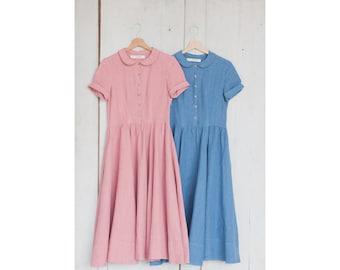 Blue Dress, Linen, Women Fashion, Hand Made dress,  Loose Dress, Women clothing