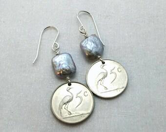 Crane Earrings - Coin Earrings - Silver freshwater pearls - Cute little crane coins - South Africa  - Blue Crane - heron - crane jewelry