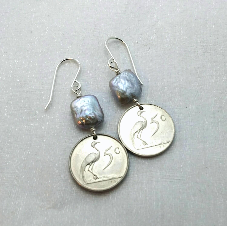 Crane Earrings Coin Earrings Silver freshwater pearls - photo#17