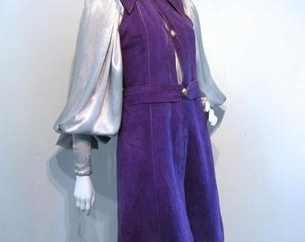 Vintage 1970s JEAN MUIR Purple Suede Deerskin Sleeveless Dress // Rare Early 1970s // Superb Condition