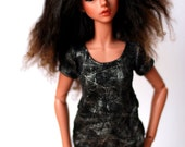 MNF Withdoll Clothes Black And Silver Crackle Top For MSD BJD - Free Shipping