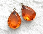 Hyacinth Orange Pear-Shaped Pendants Charms in Antiqued Brass Settings
