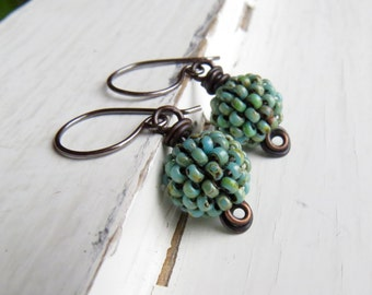 Turquoise Berries - handwoven Picasso blue-green glass bead earrings with oxidised silver loops - Songbead UK OOAK, narrative art jewellery