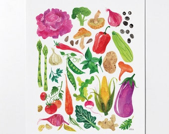 VEGGIES - 8x10 art print