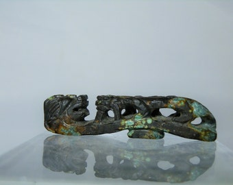 Authentic Vintage Chinese Carved Natural Turquoise Traditional Dragon Belt Hook 2.71 inches Collectible Jewelry DanPickedMinerals