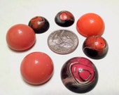 Vintage Plastic Cabochon Lucite Acrylic Pink Orange Coral Fun Round Assortment Destash Large Lot