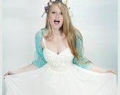 Turquoise wedding shrug you can wear at 4ways- shawl, shrug, crisscross and scarf. Bridal shrug bolero (DL122)
