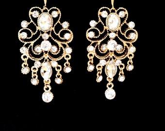 Gold chandelier earrings - Long - 14k gold over sterling wires ~ Brides earrings ~ Crystal earrings ~ Vintage style ~ Wedding earrings ~GIFT