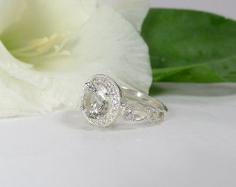 Art Deco Engagement Ring, Art Deco Ring, Sterling Silver Ring, Herkimer Diamond, Art Deco Design