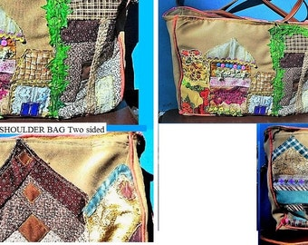 USA MAIN STREET Purse, 7 Homes, Stores, Gardens, Handmade Patchwork, LargeTwo-Sided Shoulder Bag. Sure to get Compliments!  One of a Kind!