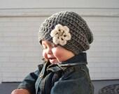 Girl Slouch Beanie- Baby Girl Beanie- Grey
