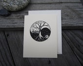Yin Yang Trees Blank Card, Greeting Card, All Occasion Blank Card, Original Art Print
