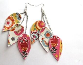 Scandinavian jewelry, Tulip earrings, love bird earrings, scandinavian earrings, lightweight dangle earrings, statement earrings, colorful