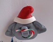 Personalized Christmas Ornaments ~ Elephant Ornament ~ Cute Elephant Ornament ~ Baby's First Christmas in Polymer Clay by Classon Creations