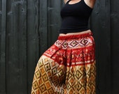 RESERVED---------------- XL/XXL Sari Pantaloons- 4 Yard Cream, Black and Red Vintage Ikat Silk Print