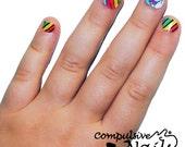 Kid's size rainbow unicorn nail wraps. Nail Decals made with real nail polish. Nail polish strips.