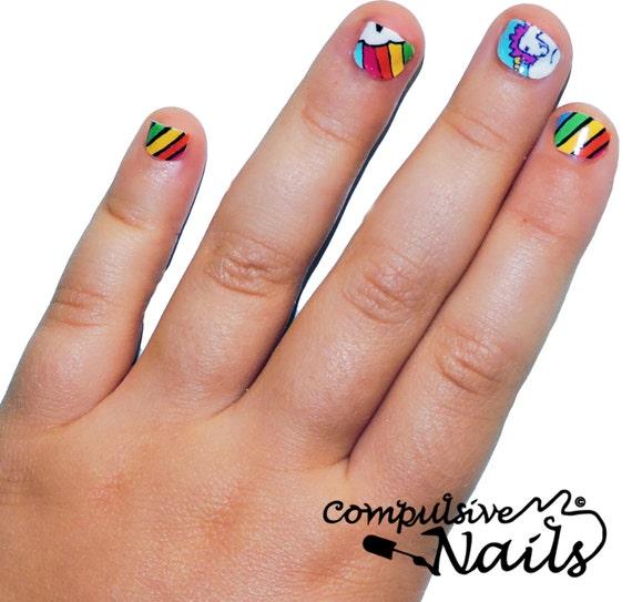 Kidu0026#39;s Size Rainbow Unicorn Nail Wraps. Nail Decals Made