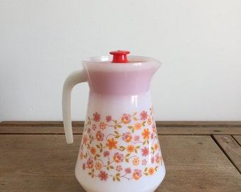 retro French 1970s floral 'Scania' pitcher Jug with Lid from Arcopal