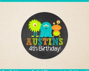 Monster Bash Birthday Stickers - Monster Favor Stickers - Monster Gift Stickers - Monster Gift Labels - Monster Party - Digital and Printed