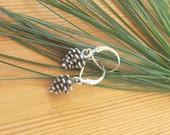 Adorable Sterling Silver Pinecone Earrings on Secure Sterling Lever Back, Pine Cone Earrings, Nature Theme, Outdoors, Woodsy, Fall, Gift