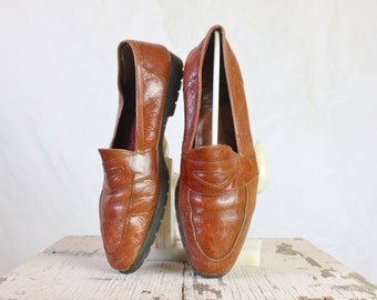 Vintage Toffee Leather Loafers Sz 7-8