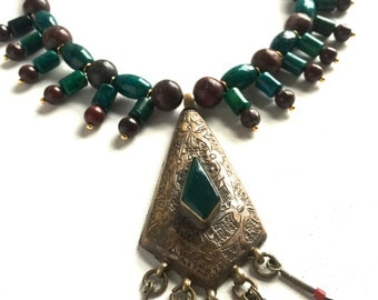 Egyptian Ancient Necklace// Green Gemstone Necklace// Brecciated Jasper and Chrysocolla Gemstone Necklace// Green Earth Necklace// Egypt