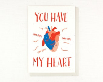 Valentine's Day Card heart anatomy, You have my Heart Card, Love, Anatomy, doctor, realistic, gross, valentine, wedding