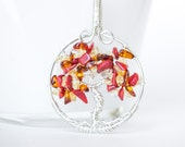 Fall Tree of life necklace , Fall Tree of life , Red Orange Yellow tree ,