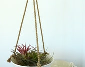 Extra Large, Hanging Planter, Ceramic Porcelain Basket with Jute or Cotton Cord, Hand Carved Geometric or Smooth Finish