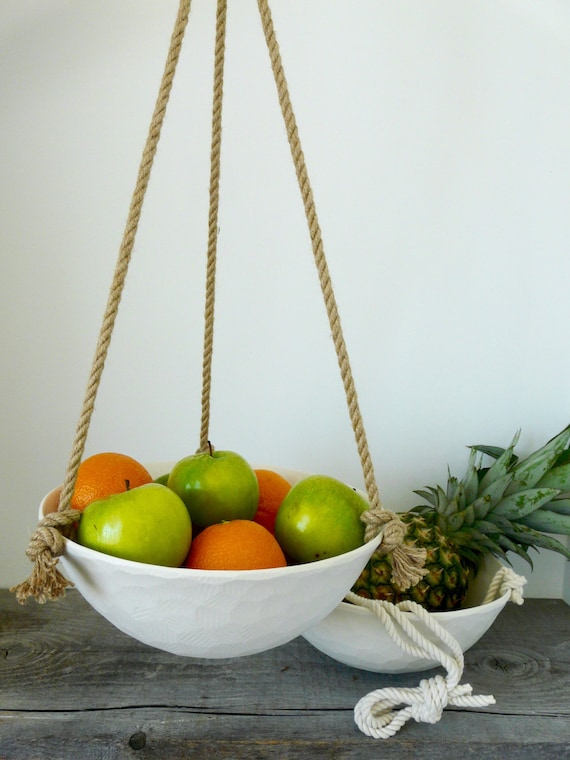 Large Hanging Ceramic Fruit Basket, Jute or Cotton Cord, Hand Carved Geometric or Smooth Porcelain Bowl Design