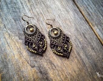 Big tribal chic Micro macrame earrings bohemian jewelry by Mariposa