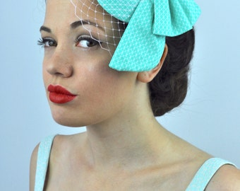 Mint Green Geometric Print Bow Fascinator with Pastel Pink Net Veil