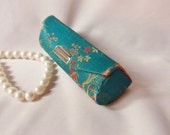 Asian Lipstick Case with Mirror, Blue Satin Lipstick Case with Cherry Blossoms