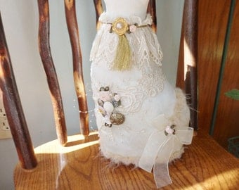 Cat Doorstop, Handmade White Satin Cat with Lace and Buttons, Shabby Chic Stuffed Cat Doorstop