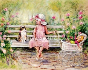 Kitty Cat Little girl art print kids friend Kids art decor poster Pink Green 'Chatting With My Friend ' Laurie Shanholtzer Canvas or paper