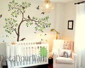 """Tree Wall Decal Nursery 84""""H Birds Decals Baby Kids Room Decor Wall Art Sticker Living room Bedroom Large Mural Removable Stickers Nature"""
