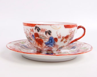 Vintage Geisha Girls Teacup Saucer Egg Shell Porcelain Asian Scene Hand Painted Japanese Tea Cup