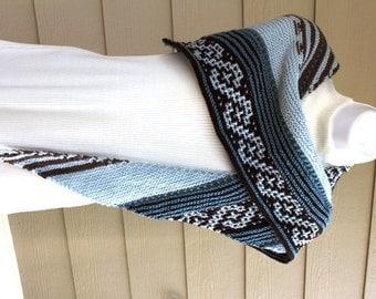 Painted Desert Shawl - PDF Knitting Pattern. Hand knit, mosaic, blue, chocolate, mocha, gray, medium skill, southwestern, slip stitch,