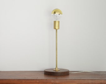 Black walnut and brass table desk light accent lamp - brass lighting