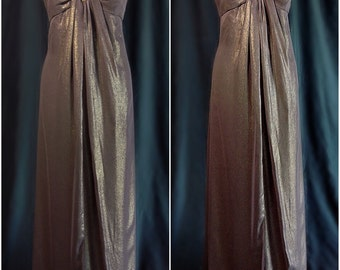 Vintage women strapless brown evening gown with sequins size 10