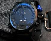 Mens Quartz Watch, LED Watch, Valentines Gift, Calendar Watch, Anniversary Gift, Leather Watch, Sports Watch, Luxury Watch, GEQL-BLD2